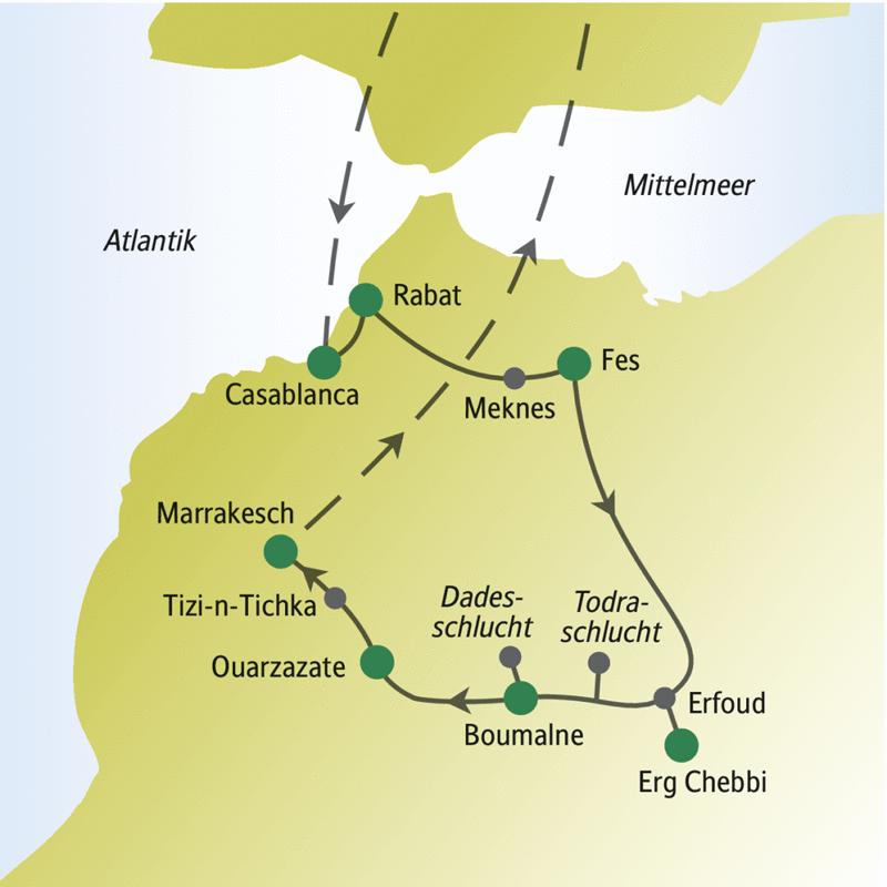 Unsere Reiseroute startet in Casablanca, führt über Fes, Erg Chebbi und endet in Marrakesch.