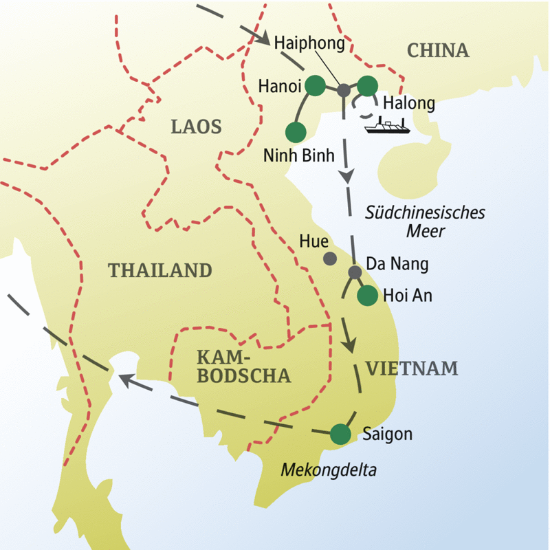 Unserer Reiseroute der Singlereise durch Vietnam startet in Hanoi und führt über die Halongbucht, Hoi An bis nach Saigon.
