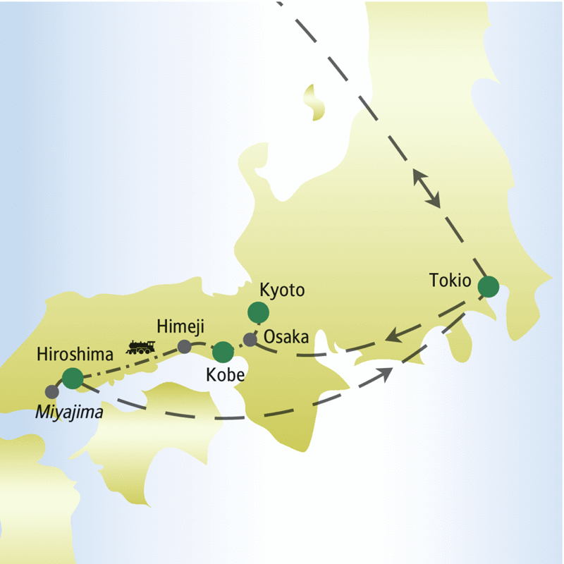 Unsere Reiseroute durch Japan führt über Kyoto, Kobe, Hiroshima und Tokio. Nach Himeji und Hiroshima fahren wir mit dem Shinkansen.