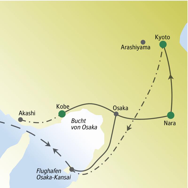 Die Reiseroute dieser Silvesterreise für Singles und Alleinreisende führt nach Akashi, Kobe Osaka, Nara und Kyoto.