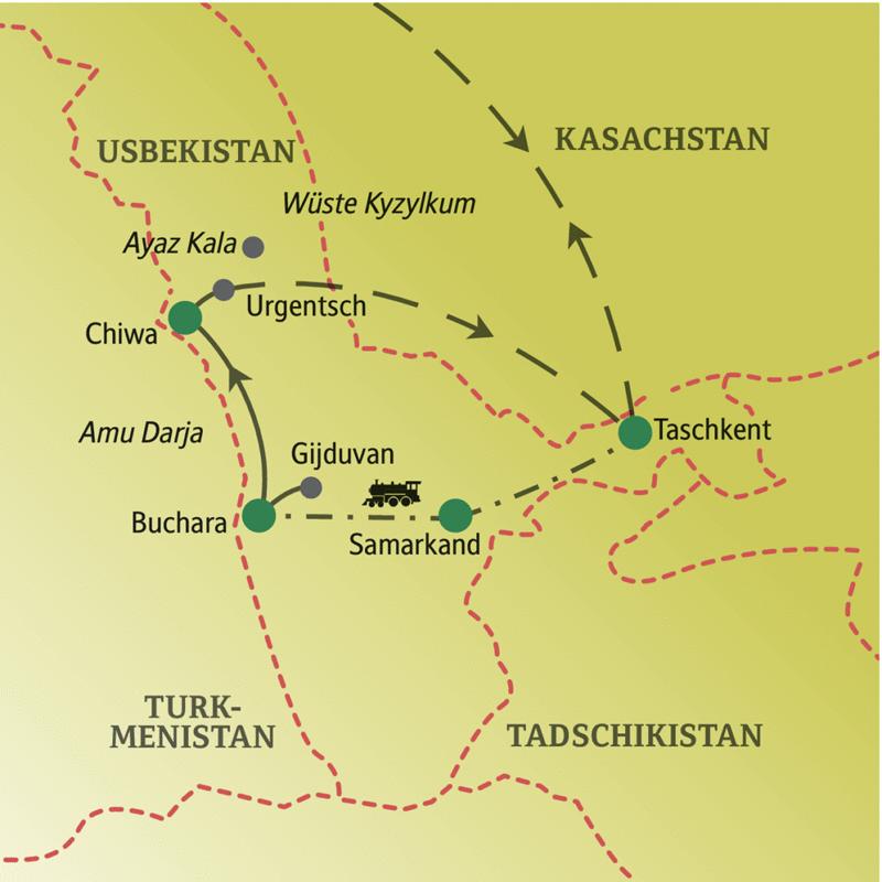 Unsere Singlereise nach Usbekistan beginnt in Taschkent, führt über Samarkand und Buchara nach Chiwa und endet nach einem Inlandsflug von Urgentsch wieder in Taschkent. Nach  Samarkand und Buchara fahren wir mit dem Zug.