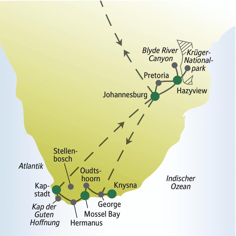 Von Johannesburg zum Krügerpark, nach Knysna und über die Gartenroute nach Kapstadt. 2 Wochen mit anderen weltoffenen Singles und Alleinreisenden durch Südafrika.