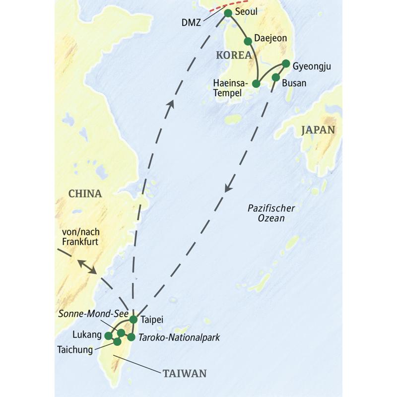 Die Route der Studienreise Taiwan - Südkorea zu den Hochkulturen Ostasiens umfasst Taipei und Lukang in Taiwan. Dann geht es nach Südkorea: von Seoul zum Gayasan-Nationalpark, nach Gyeongju und zum Abschluss nach Busan.