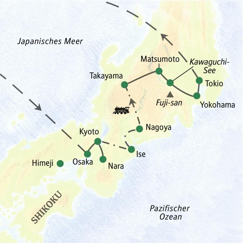 Die Reiseroute der Studienreise zu den Höhepunkten Japans verläuft zwischen Tokio und Kyoto, inklusive Nationalheiligtum Ise-Schrein.