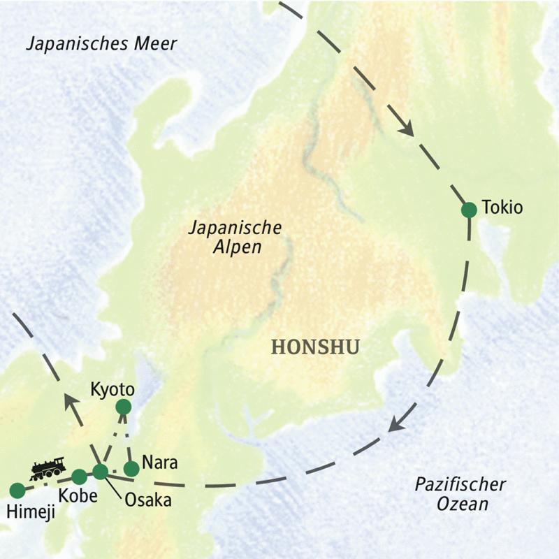 Auf unserer Studienreise durch Japan sind wir mit öffentlichen Verkehrsmitteln unterwegs und besuchen die Highlights Tokio, Kyoto, Nara und das charmante Kobe.
