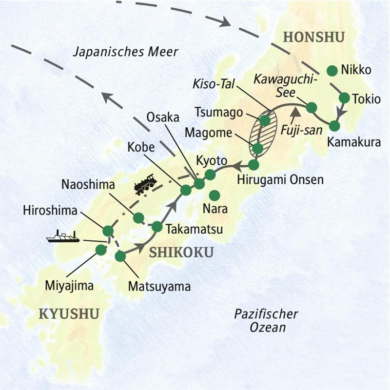 Auf unserer Studienreise durch Japan erwartet Sie  eine ausführliche Reiseroute von Tokio bis Hiroshima. Die Highlights: die Kunstinsel Naoshima und die Japanischen Alpen inkl. Wanderung auf historischem Postweg.