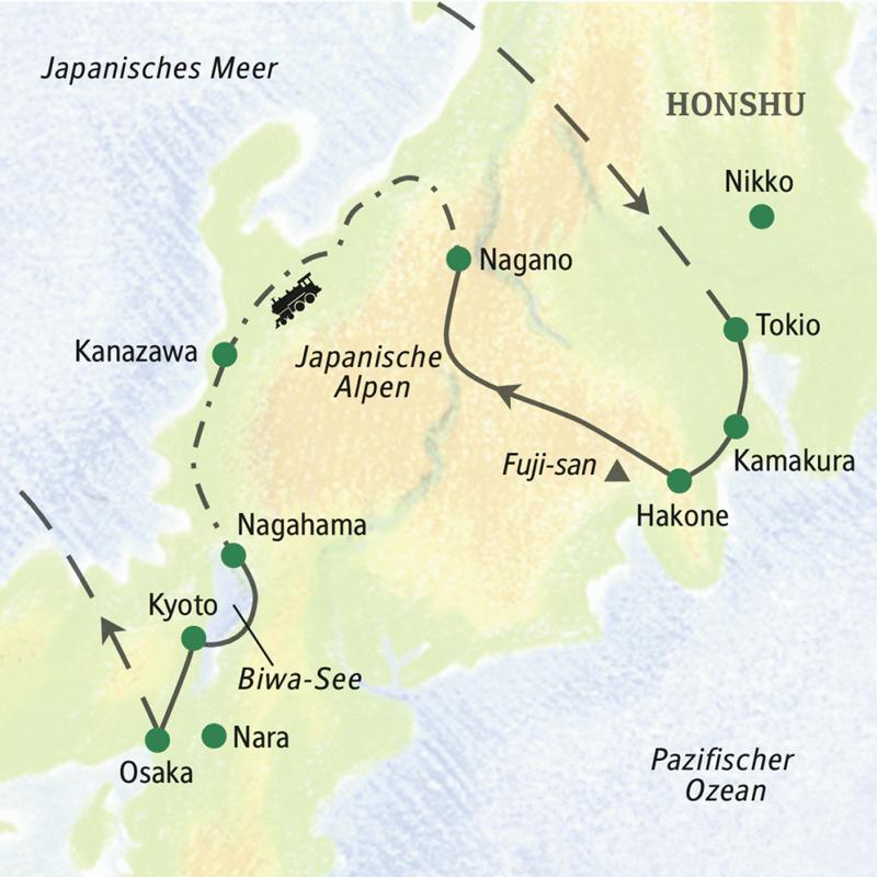 Unsere Studienreise mit Muße durch Japan führt von Tokio bis Kyoto mit viel Zeit zum Erleben und Verarbeiten. Orte zum Verweilen sind Kanazawa und Nagahama.