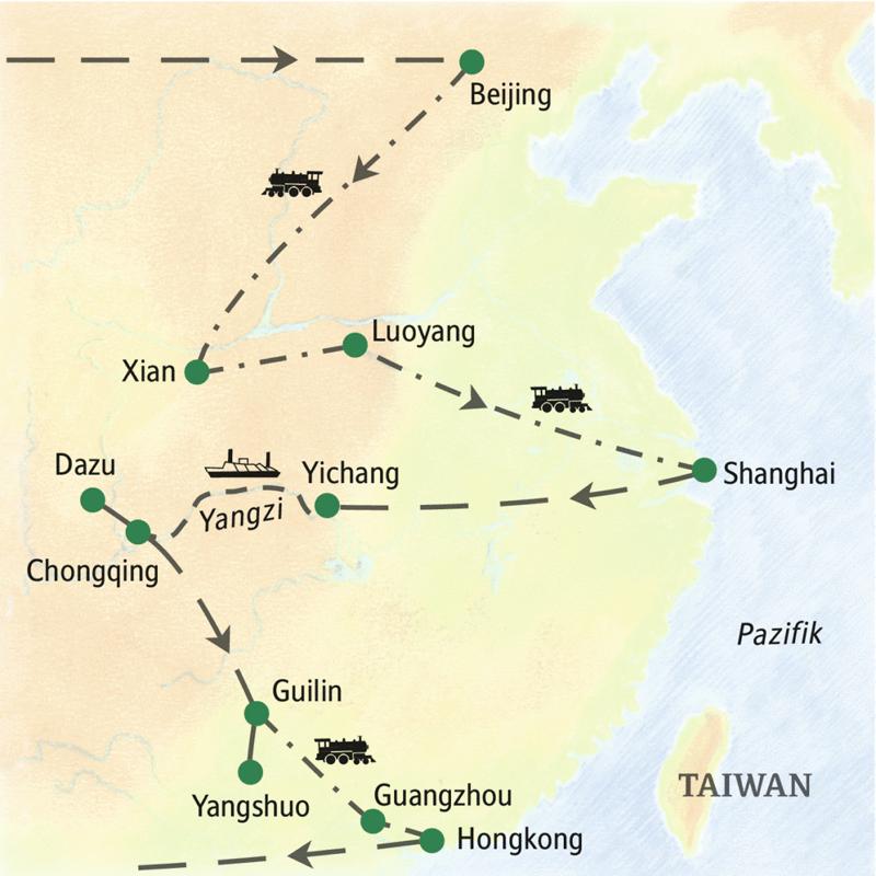 Reiseverlauf der Studienreise durch China mit Yangzi-Kreuzfahrt, abwechslungsreicher Mix von Kultur und Natur, Beginn in Beijing, Reisefinale in Hong Kong.
