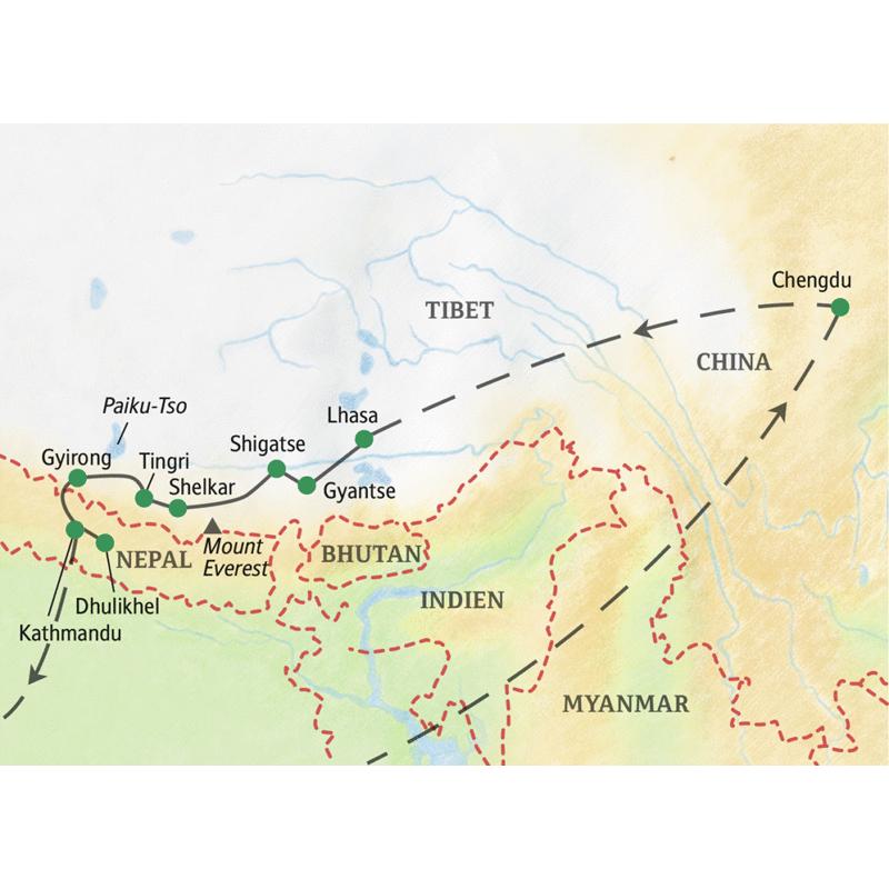 Reiseverlauf der Studienreise China - Tibet - Nepal, von Chengdu in Sichuan per Flug nach Lhasa und dann auf dem Landweg am Mount Everest vorbei nach Kathmandu