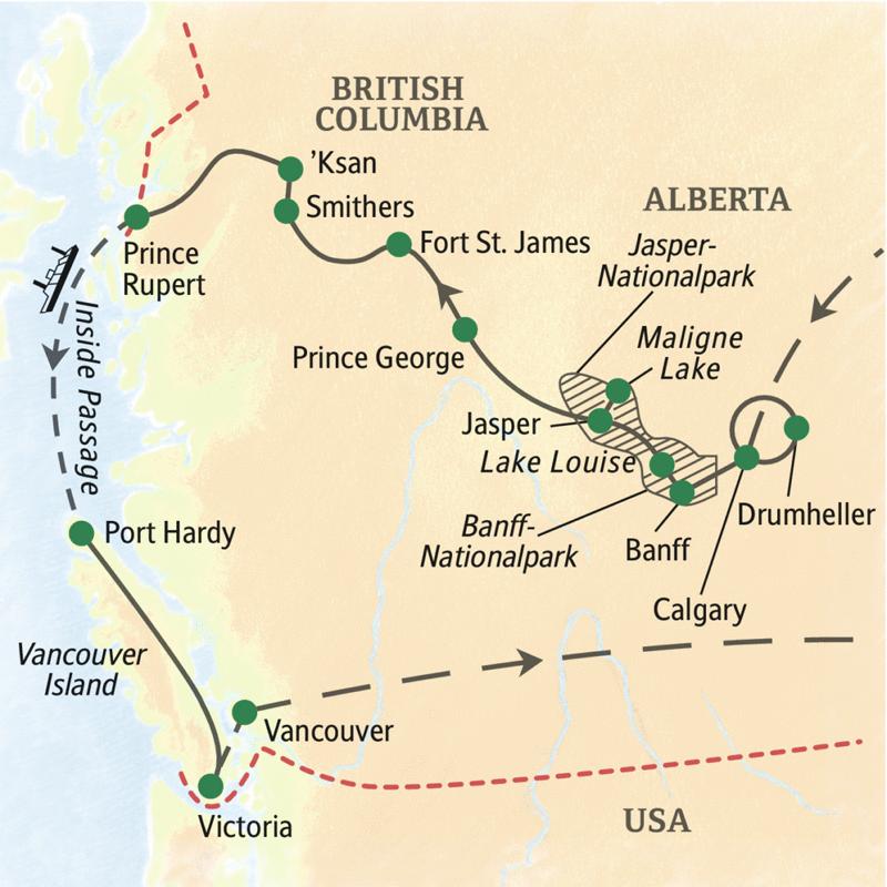 Unsere Reiseroute durch Westkanada startet in Calgary, führt durch den Banff- und Jasper-Nationalpark, über den Yellowhead Pass nach British Columbia, weiter mit der Fähre auf der Inside Passage nach Port Hardy, von dort in den Süden von Vancouver Island und dann nach Vancouver.