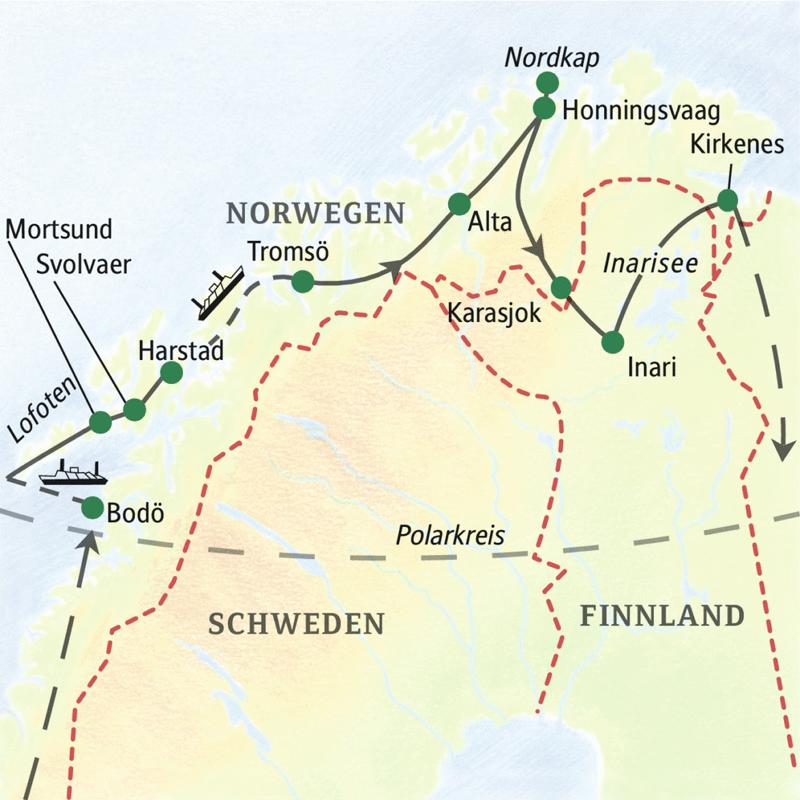 Auf unserer Lappland-Studienreise fahren wir in Norwegen oberhalb des Polarkreises von Bodö nach Kirkenes und machen einen Abstecher nach Finnland.