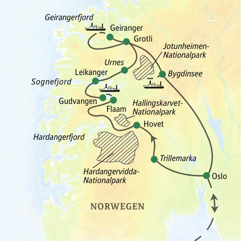 Unsere Wanderreise durch Norwegen startet in Oslo und führt zu den schönsten Wanderzielen auf dem Fjell und an den Fjorden, unter anderem zur Hardangervidda, zum Geirangerfjord und zum Sognefjord.
