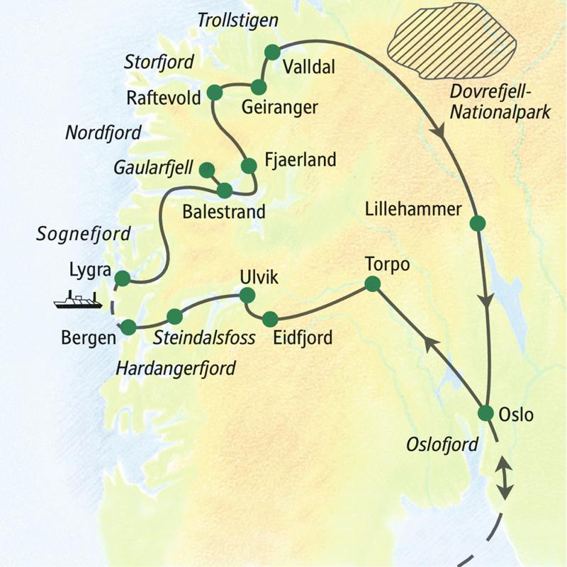 Unserer Reiseroute der Studienreise führt in zwölf Tagen durch Norwegens Fjordland. Wir starten in Oslo, wo wir auch am Ende die Heimreise antreten.