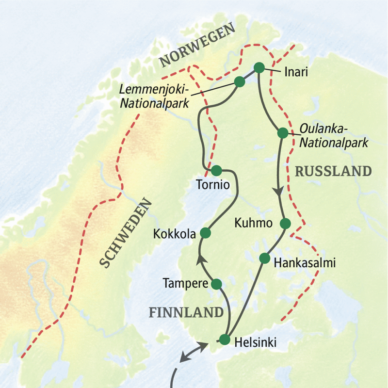 """Unsere umfassende Finnlandreise zur Herbstlaubfärbung """"Ruska"""" führt von Helsinki bis nach Lappland und zurück."""