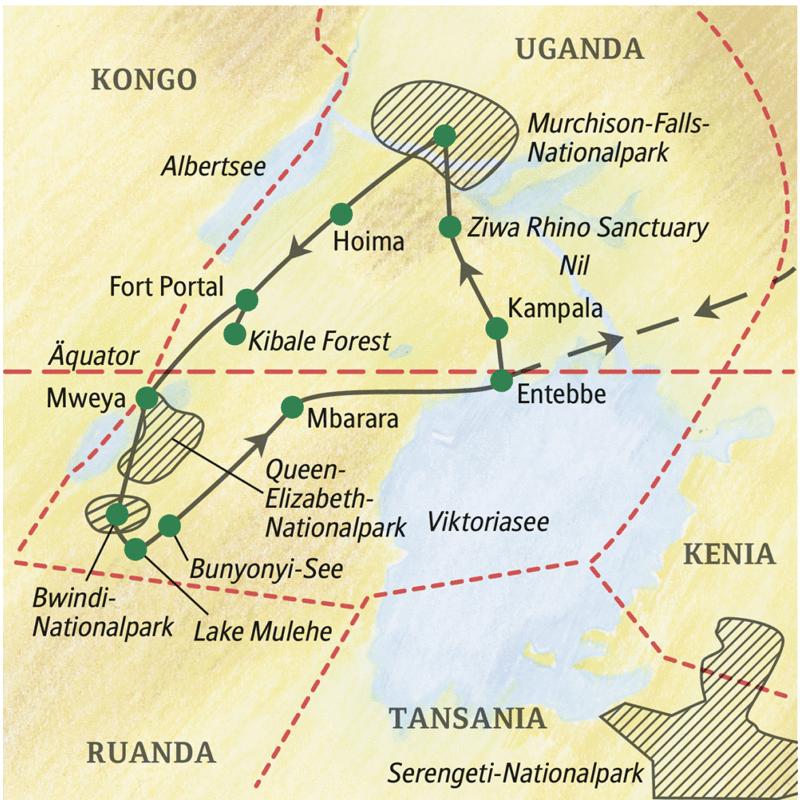 Die Destination Uganda lässt mit dem Murchison-Falls-, dem Bwindi- und dem Queen-Elizabeth-Nationalpark die Herzen aller Naturliebhaber höherschlagen! Auf unserer Natur-Studienreise Uganda - mit Gorilla-Tracking unternehmen wir Pirschfahrten im Geländewagen und Bootsfahrten im Vogelparadies.