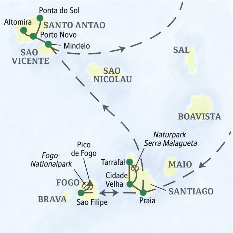 Auf der Reiseroute unserer Wander-Studienreise Kapverdische Inseln - Vulkaninseln im Atlantik erleben Sie die vier interessantesten Inseln der Kapverden: Santiago, Fogo, Sao Vicente und Santo Antao.