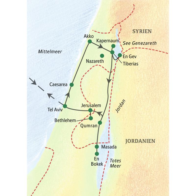 Unsere Reiseroute führt von Tel Aviv über die alte Kreuzfahrerstadt Akko, den See Genezareth bis nach Jerusalem.