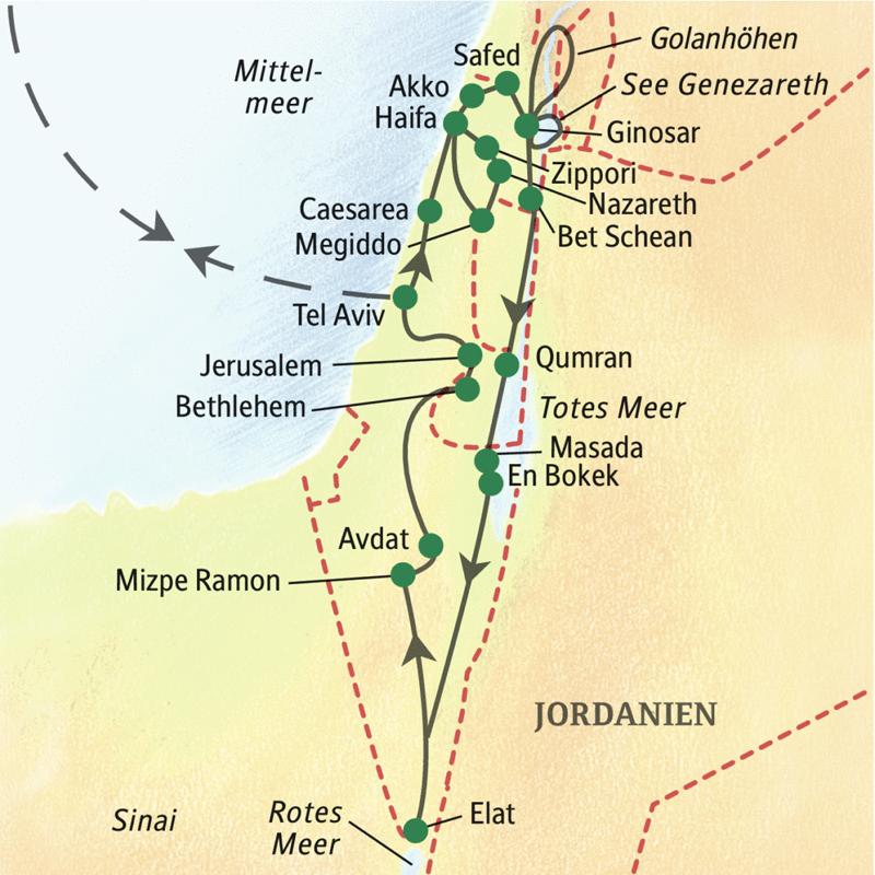 Auf unserer Studienreise lernen Sie Israel zwischen Mittelmeer, Golanhöhen, Totem Meer und Rotem Meer kennen.