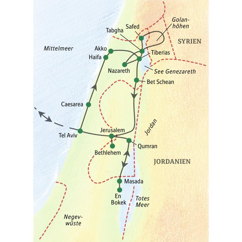 Auf dieser klassischen Studienreise erleben Sie Israel zwischen Safed und  En Bokek in einer kleineren Gruppe mit besonders ausführlichen Führungen  Einige Highlights sind Akko, Nazareth, Bethlehem, Qumran und Jeruslamen