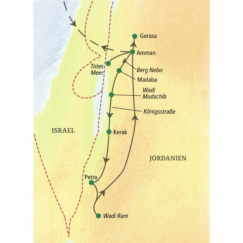 Die einwöchige Studienreise Jordanien - Höhepunkt Petra führt von den antiken Stätten in Amman und Gerasa in die Nabatäerstadt Petra und weiter ins Wadi Ram. Erlebnisse zwischen Totem Meer und Wüstenwildnis.