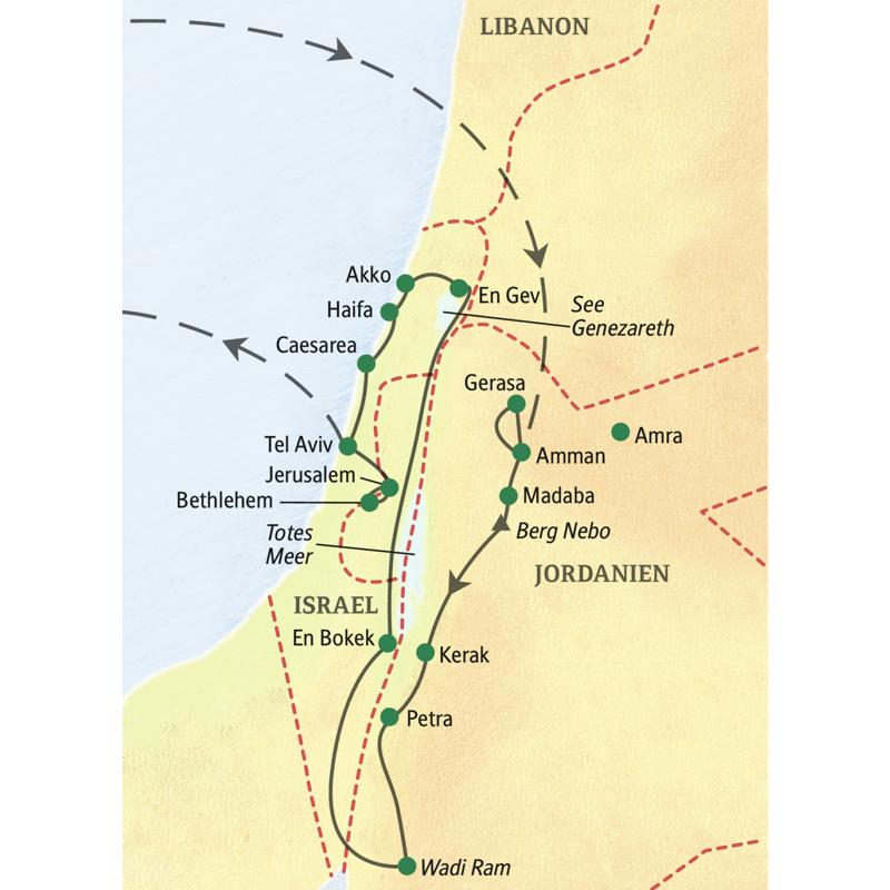 Auf der Studienreise große Nahostreise kommen Sie in Israel unter anderem nach Caesarea, Akko, Jerusalem und Bethlehem, in Jordanien besuchen Sie Amman, Gerasa, Madada, Kerak, Petra und das Wadi Ram.