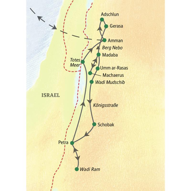 Bei der Wanderstudienreise nach Jordanien  wandern Sie unter anderem in der Gegend von Adschlun, in Petra und im Wadi Ram.