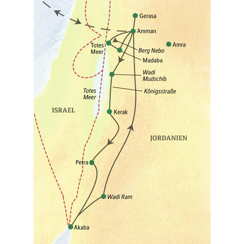Die Route unserer Studienreise durch Jordanien startet und endet in Amman. Sie können mit Muße sowohl im Toten Meer als auch im Roten Meer baden, bevor Sie im Wüstensand das magische Licht des Wadi Ram begeistern wird.