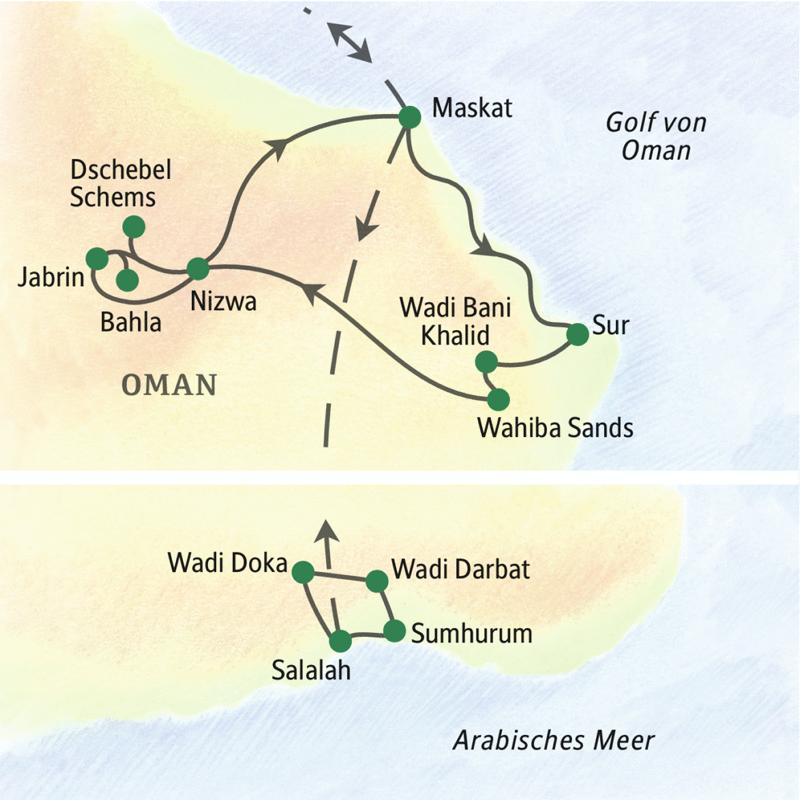 Unsere Studienreise durch den Oman startet in Maskat und führt über palmenreiche Wadis, lange Sandstrände, Forts aus Lehm bis nach Salalah.
