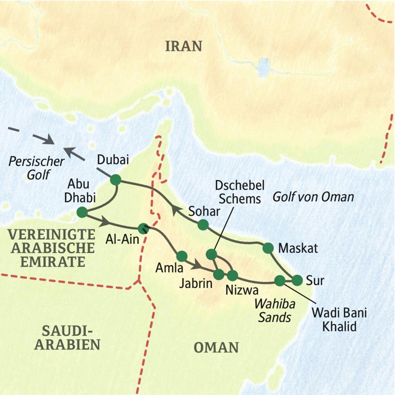 Unsere Rundreise startet und endet in Dubai und gewährt einen Überblick über die Golfstaaten Dubai, Abu Dahabi und Oman.