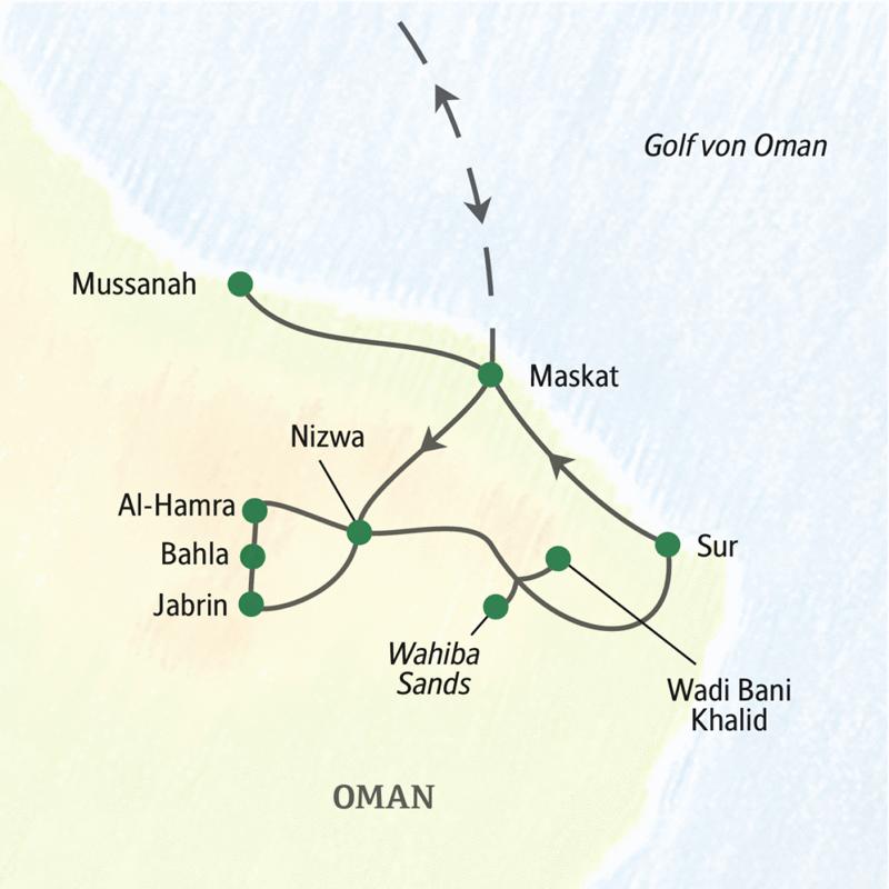 Unsere Reiseroute durch den Oman beginnt in Maskat und führt über Sur, die Wahabi Sands und Nizwa zurück zum Ausgangspunkt.