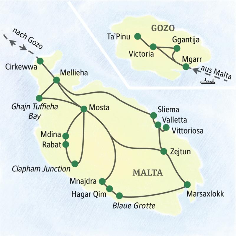 Erleben Sie bei unserer Studienreise die Höhepunkte Maltas und Gozos  in acht Tagen von nur einem Standort aus.