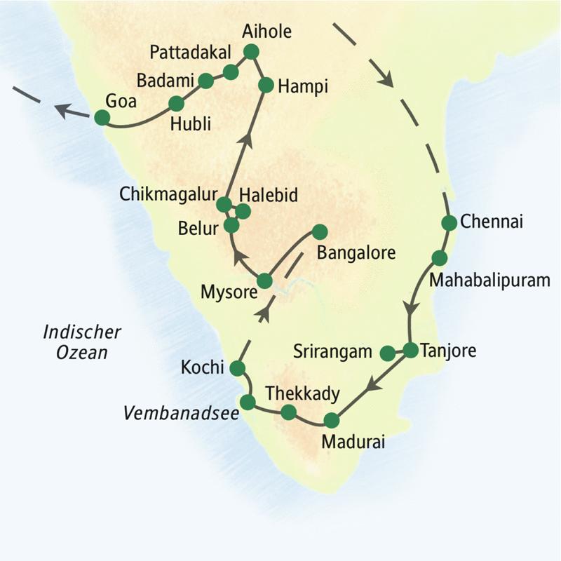 Reiseroute der umfassenden Studienreise durch Südindien: Nach Ankunft in Chennai Fahrt nach Mahabalipuram. Von dort Richtung Süden nach Tanjore, Srirangam, Madurai, dann durch Kerala von Thekkady über den Vembanadsee nach Kochi, im Anschluss durch Karnataka, Mysore, Chikmagalur, Hampi und Badami nach Goa.