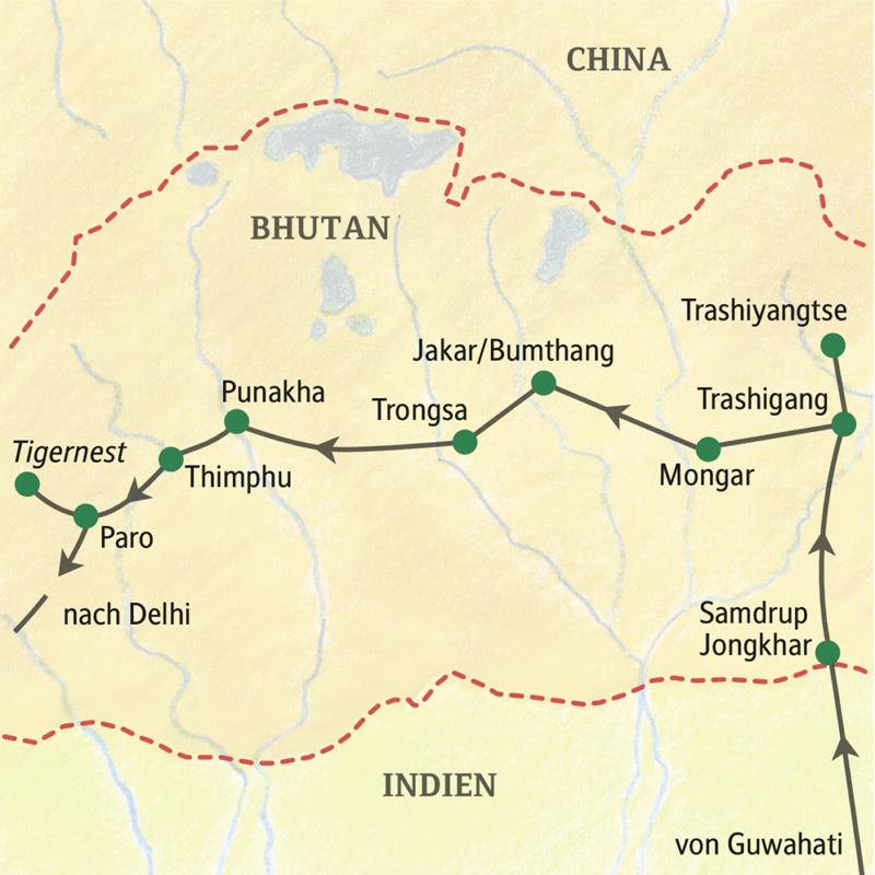 Verlauf unserer Klassik-Studienreise Bhutan - mit dem Osten des Königreichs: Guwahati, Grenzübergang bei Samdrup Jongkhar, Trashigang, Trashiyangtse, Mongar, Bumthang, Trongsa, Punakha, Thimphu, Paro, Rückflug über Delhi.