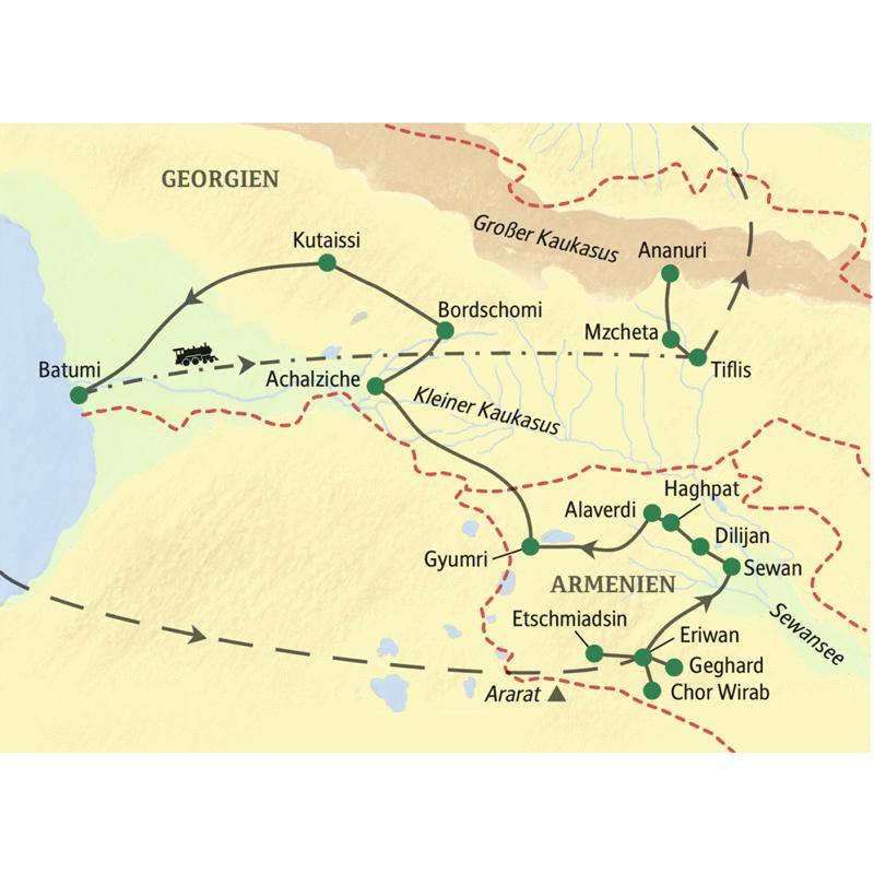 Diese umfassende Studiosus Studienreise von Armenien nach Georgien streift viele Regionen vom Ararat bis zum Kaukasus.