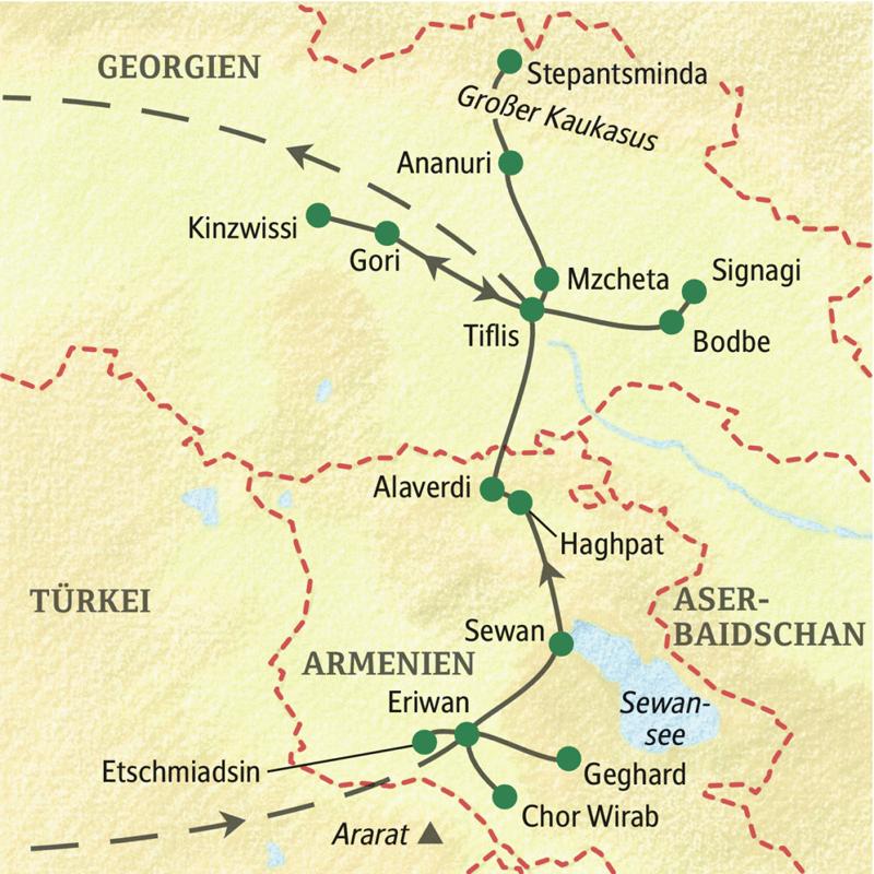 Diese Studienreise beginnt in Eriwan, der Hauptstadt Armeniens, und führt über den Sewansee und Alaverdi bis Tiflis. Abstecher in den Hohen Kaukasus, nach Kachetien und in die Höhlenstadt Gori machen das Bild von Georgien komplett.