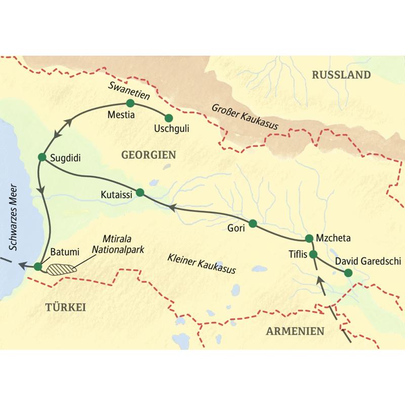 Die Studiosus WanderStudienreise Georgien - Swanetien verbindet großartige Landschaftserlebnisse zwischen Schwarzem Meer, Steppenlandschaften und den Gletschern im Großen Kaukasus.
