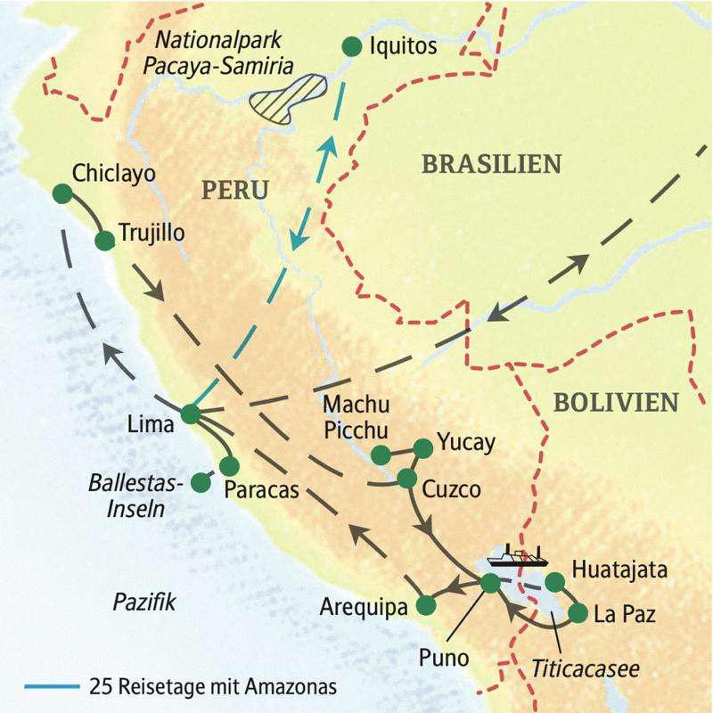 Wichtigste Stationen dieser Rundreise durch Peru und Bolivien: Lima, Chiclayo, Trujillo, Machu Picchu, Cuzco, Titicacasee und La Paz. Sie können unsere Studienreise Peru-Bolivien - Küste und Hochland auch um ein paar Tage am Amazonas verlängern.