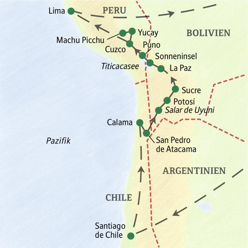 Die wichtigsten Stationen dieser Reise zu den Höhepunkten der Anden: Santiago de Chile, Atacama, Salzsee Salar de Uyuni, Potosi, Sucre, La Paz, Titicacasee, Cuzco, Machu Picchu und Lima.