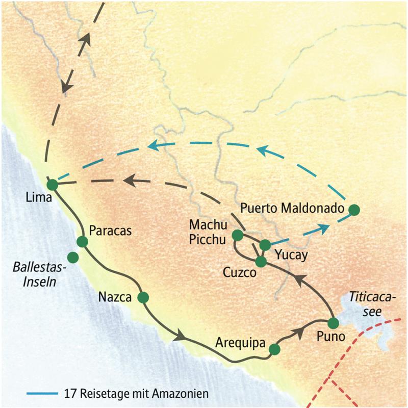 Die wichtigsten Stationen der zweiwöchigen Reise durch Peru sind Lima, Paracas, Arequipa, der Titicacasee, Cuzco und Machu Picchu sowie optional Puerto Maldonado.