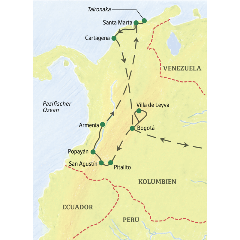 Wichtigste Stationen unserer Studienreise Höhepunkte Kolumbiens: Bogotá, San Agustín, Popayán, Kaffeeregion, Karibikküste und Cartagena.