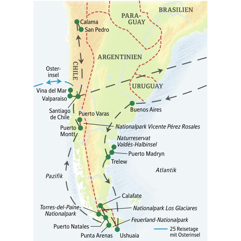 Eine Studienreise für Liebhaber ursprünglicher Landschaften: Erkunden Sie Chile und Argentinien mit der Zauberwelt Patagoniens und als besonderen Höhepunkt die Atacamawüste! Und wenn Sie auch die Osterinsel sehen möchten, können Sie die Reiseroute verlängern.