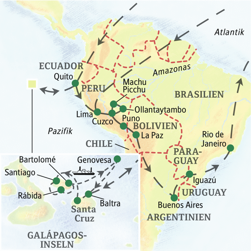 Die Reiseroute unserer Studienreise durch Südamerika führt durch Peru, Bolivien, Brasilien und Argentinien.
