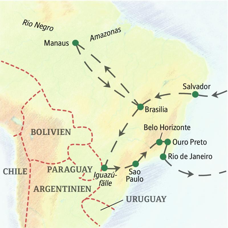 Unsere Reiseroute der Studienreise ins Wunderland am Zuckerhut - Brasilien - startet in Salvador und führt über Brasilia, Manaus, die Iguazúfälle, Sao Paulo bis nach Rio de Janeiro.