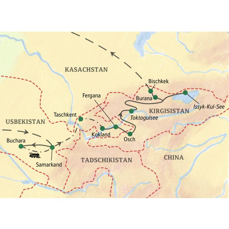 Unsere Studienreise Usbekistan-Kirgisistan - Seidenstraße im Wandel der Zeit beginnt in Samarkand. Wir lernen Buchara kennen und fahren mit dem Zug nach Taschkent und ins Ferganatal. Die Grenze überqueren wir bei Osch, weiter geht es an den Toktogulsee, nach Burana, an den Issyk-Kul See und schließlich nach Bischkek.