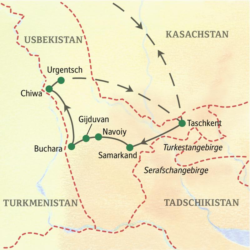 Verlauf der Studienreise Usbekistan - Höhepunkte. Die Rundreise beginnt in Taschkent und führt über Samarkand, Navoiy und Gijduvan nach Buchara, von dort nach Chiwa und von Urgentsch aus per Inlandsflug zurück nach Taschkent.