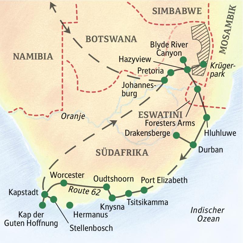 Diese ausführliche, dreiwöchige Studienreise bringt Ihnen Südafrika in all seinen Facetten nahe. Ob Swasiland (nun Eswatini), Zululand, die Drakensberge oder der Krüger-Nationalpark: Die Vielfalt der Menschen, Landschaften und Tierwelten wird Sie begeistern!