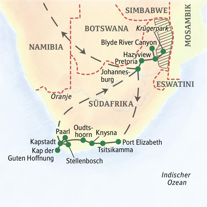 In 2 Wochen erleben Sie mit Studiosus die Höhepunte Südafrikas: Krügerpark, Gartenroute mit Tsitsikamma und Kapstadt mit dem Kap der Guten Hoffnung.