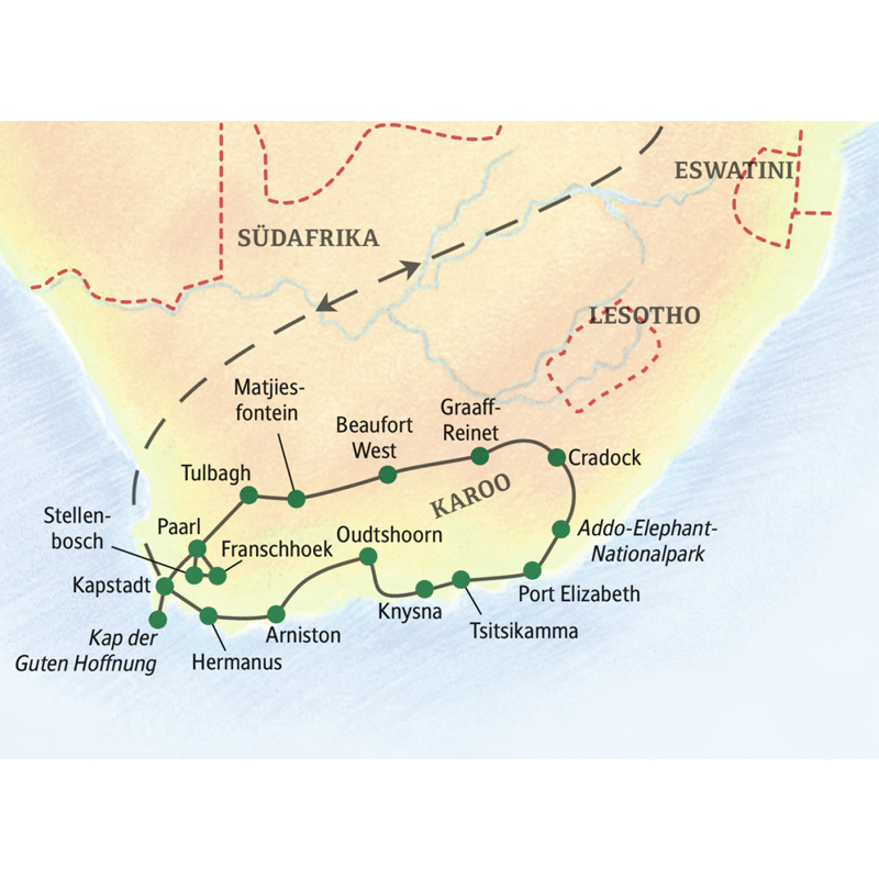 Die Reise mit Studiosus führt von Kapstadt durch die Karoo inklusive Safari in malariafreien Nationalparks am Kap.