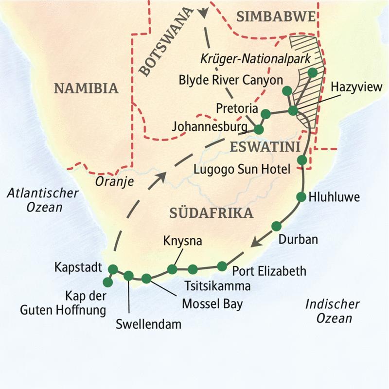 Preiswert unterwegs mit Studiosus durch Südafrika, in 2 Wochen durch das Land am Kap