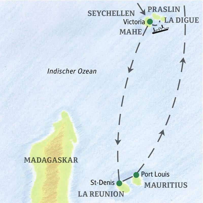 Auf unserer Studienreise erleben Sie in 15 Tagen Traumwelten mitten im Indischen Ozean  - die Granitinseln der Seychellen, die Vulkane von La Réunion und die Strände von Mauritius.